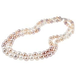 DaVonna Silver Multi-pink FW Pearl 2-row Graduated Necklace (6-11 mm)