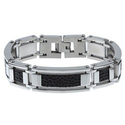 Stainless Steel and Textured Leather Men's Bracelet