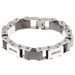 Men's 1/4-CT TDW Black Diamond Stainless-Steel Link Bracelet
