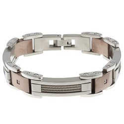 Stainless Steel Men's 1/10ct TDW Diamond Bracelet (G-H, I2-I3)