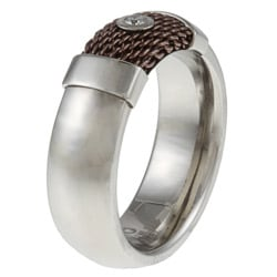Stainless Steel Chocolate Mesh Diamond Band Ring