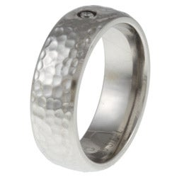 Stainless Steel Hammered Diamond Band Ring