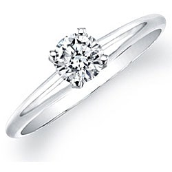 14k White Gold 3/8ct TDW Certified Diamond Solitaire Engagement Ring (H-I, SI2-SI3)