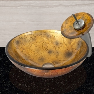 VIGO Copper Shapes Glass Vessel Bathroom Sink