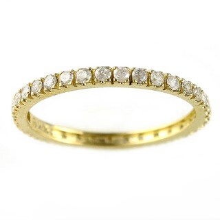 Beverly Hills Charm 14k Yellow Gold 1/2ct TDW Diamond Eternity Stackable Band Ring (H-I, I2-I3)