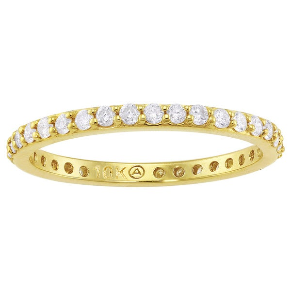 Beverly Hills Charm 10k Yellow Gold 1/2ct TDW Traditional Diamond Eternity Stackable Wedding Band (H-I, I2-I3)