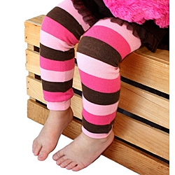 Hot Pink/ Light Pink/ Brown Striped Baby Leg Warmers