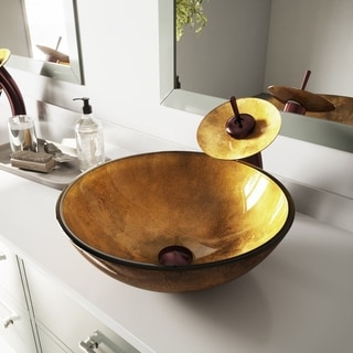 Liquid Gold Glass Vessel Bathroom Sink