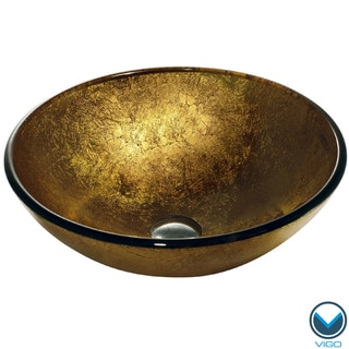 VIGO Liquid Gold Glass Vessel Bathroom Sink