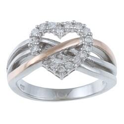 La Preciosa Sterling Silver White Cubic Zirconia Heart Ring