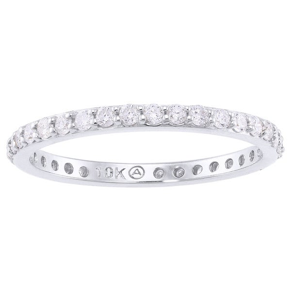 Beverly Hills Charm 10k White Gold 1/2ct TDW Diamond Eternity Stackable Wedding Band (H-I, I2-I3)