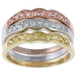 La Preciosa Sterling Silver Stackable Round-cut  Cubic Zirconia Ring
