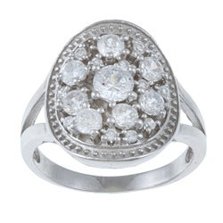 La Preciosa Sterling Silver Round Cubic Zirconia Engagement-style Ring