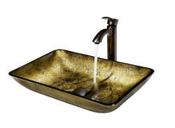 VIGO Rectangular Copper Glass Vessel Sink and Faucet Set in Oil Rubbed Bronze