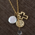 Goldplated Pearl Cross Necklace (USA)