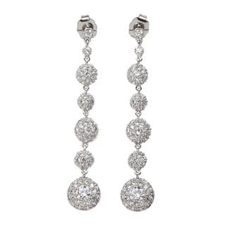 NEXTE Jewelry Silvertone Cubic Zirconia Orb Earrings