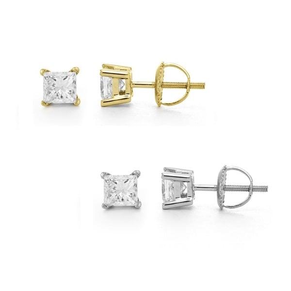 14k White Gold 1/2ct TDW Certified Diamond Stud Earrings (I, VS2)