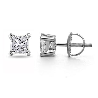 14k White Gold 1ct TDW Certified Diamond Stud Earrings (I, VS2)