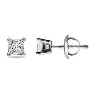 14k White Gold 1/2ct TDW Certified Diamond Stud Earrings (F-G, SI2)