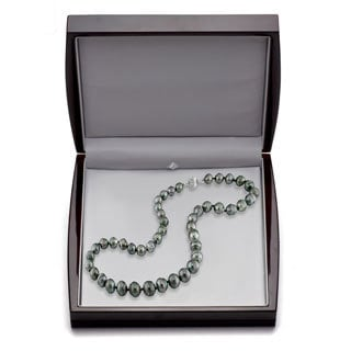DaVonna 14k Gold Black 9-11mm Tahitian Pearl Necklace (18 in) with Gift Box
