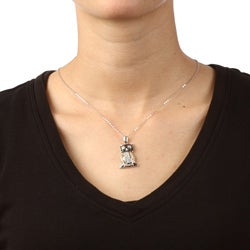 La Preciosa Sterling Silver Black and White Cubic Zirconia Owl Necklace