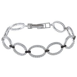 La Preciosa Sterling Silver Black and White Cubic Zirconia Link Bracelet
