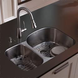 Vigo Undermount Stainless Steel Kitchen Sink, Faucet, Grid and Dispenser