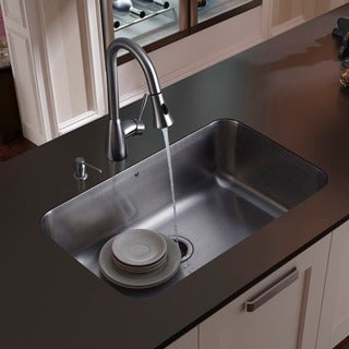VIGO Rust-Free Undermount Stainless-Steel Kitchen Sink, Faucet and Dispenser
