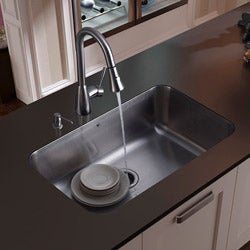 Rust-Free Vigo Undermount Stainless-Steel Kitchen Sink, Faucet and Dispenser