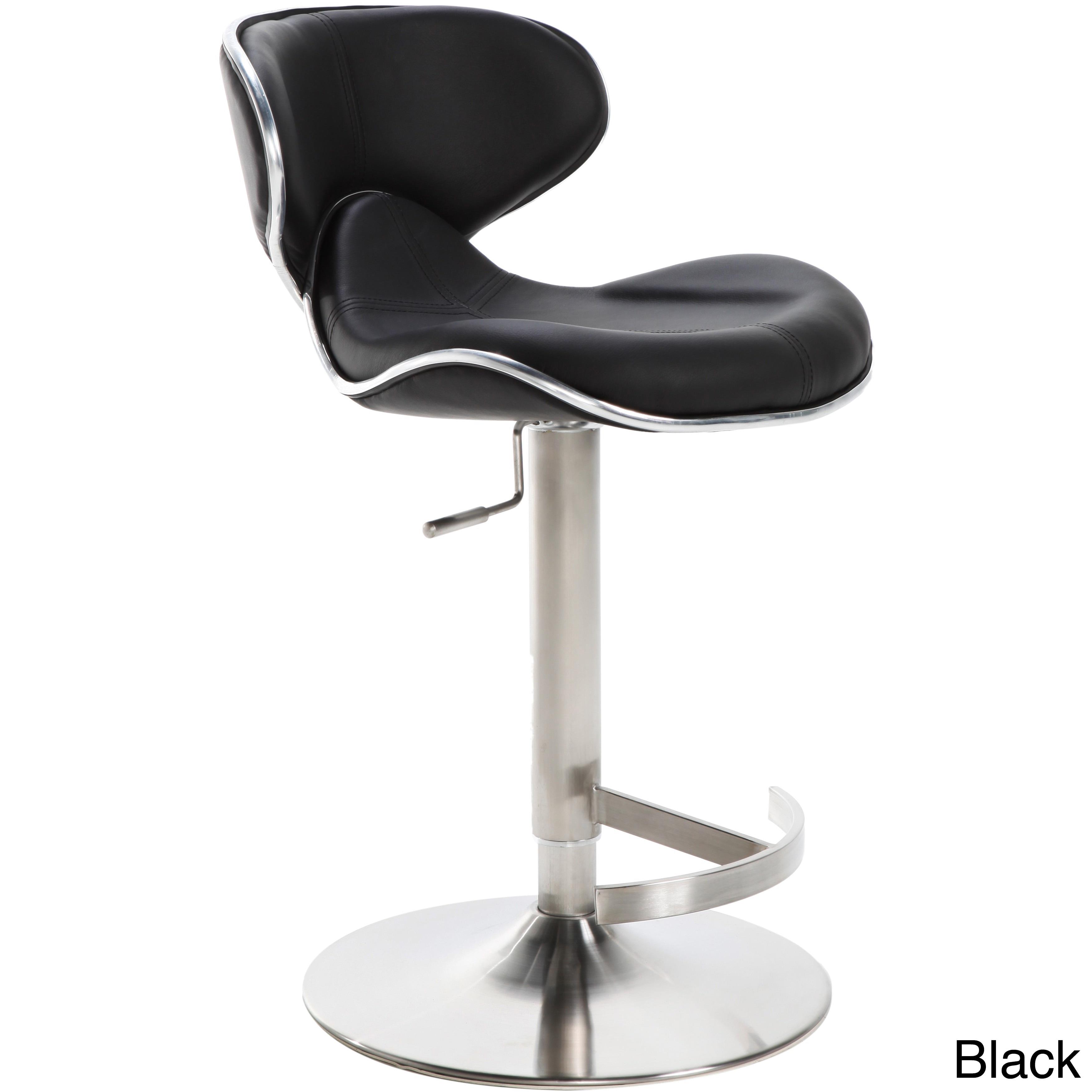 ecco brushed stainless steel adjustable height swivel bar stool  ebay - eccobrushedstainlesssteeladjustableheightswivelbar