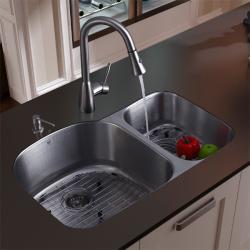 Vigo Undermount Stainless Steel Kitchen Sink Faucet, Grid and Dispenser