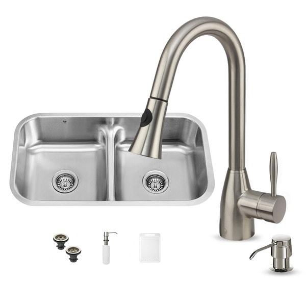Vigo Undermount 18-Gauge Stainless-Steel Kitchen Sink, Faucet and Dispenser
