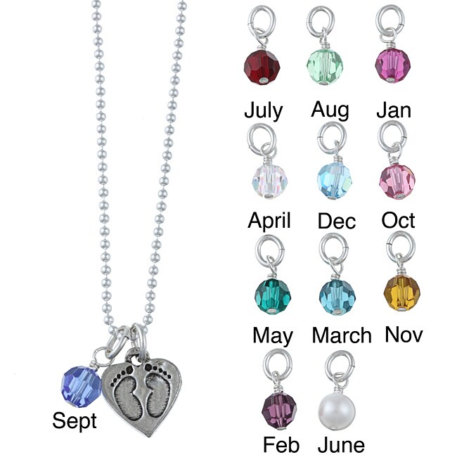 Charming Life Pewter Birthstone Baby Footprint Necklace