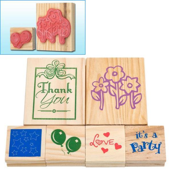 Wood Mounted 6-piece Rubber Stamp Set 7730743