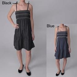 Ci Sono by Journee Junior's Denim Spaghetti Strap Empire Waist Dress