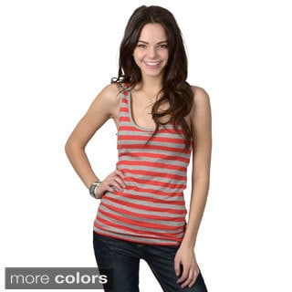 Ci Sono by Journee Juniors Lace Accent Striped Sleeveless Top