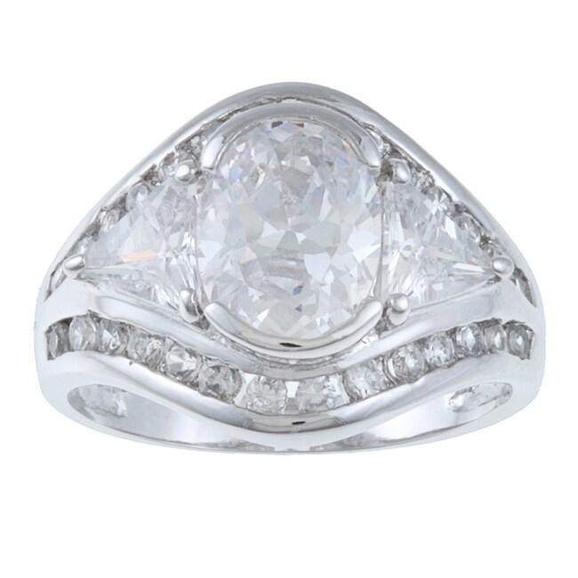 La Preciosa Sterling Silver Oval-cut Cubic Zirconia Ring