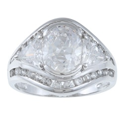La Preciosa Sterling Silver Oval-cut Cubic Zirconia Ring