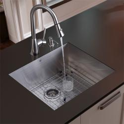 Vigo Undermount Stainless Steel Kitchen Sink, Contemporary Faucet, Grid and Dispenser