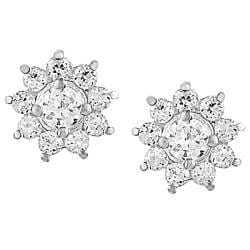 Journee Collection Sterling Silver Cubic Zirconia Flower Earrings