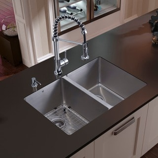 Vigo Undermount Stainless Steel Kitchen Sink, Faucet, Grid and Dispenser