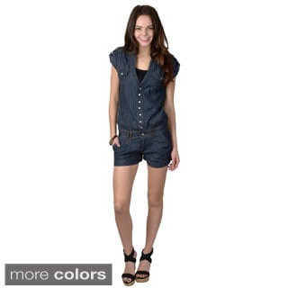 Ci Sono by Journee Juniors Short Sleeve Denim Jumper