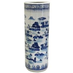 Porcelain 24-inch Blue and White Landscape Umbrella Stand (China)