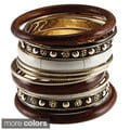 Set of 12 Brass and Wood Brown Bijoux Bangles (India)