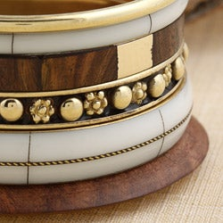 Set of 6 Brass and Wood Gran Turismo Bangles (India)