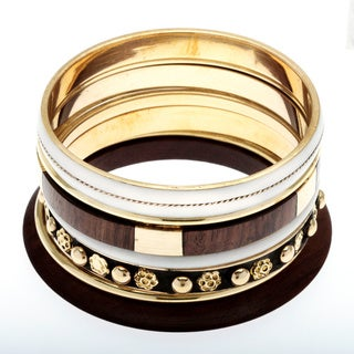 Set of 7 Brass and Wood Gran Turismo Bangles (India)
