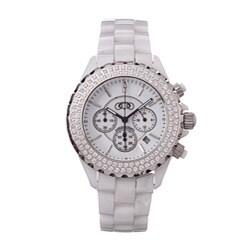 Ceramic Couture Men's White Chronograph Swiss Quartz Ceramic Bracelet Watch