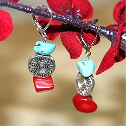 Silverplated 'Deep Sea Dive' Turquoise and Red Coral Earrings