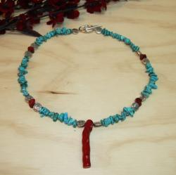 Silverplated 'Deep Sea Dive' Turquoise and Red Coral Necklace