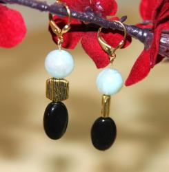 Goldplated 'Amazon Princess' Amazonite and Onyx Earrings